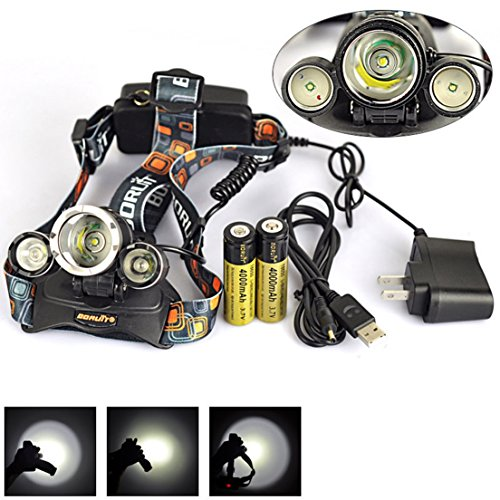 1 Set 6000 Lumen LED Headlamp Color Black Headlight Rechargeable Waterproof Best with Battery USB AC Charger (Tart Teapot)