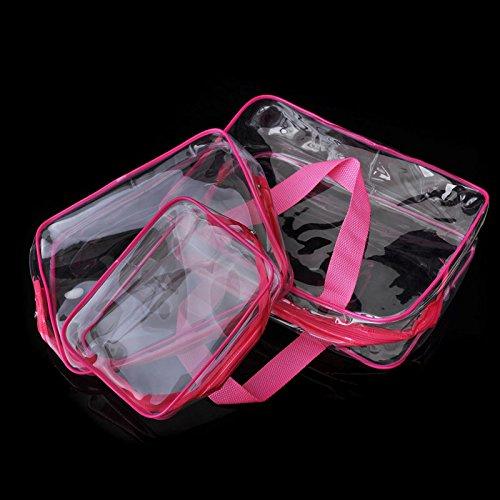 Espeedy Bolsa de cosméticos PVC transparente bolsas impermeables de lavado de bolsos maquillaje bolsa belleza suministros rosa