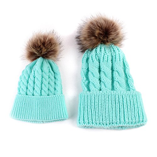 (oenbopo 2PCS Parent-Child Hat Warmer, Mother & Baby Daughter/Son Winter Warm Knit Hat Family Crochet Fur Wool Beanie Ski Cap (Lake Blue) )