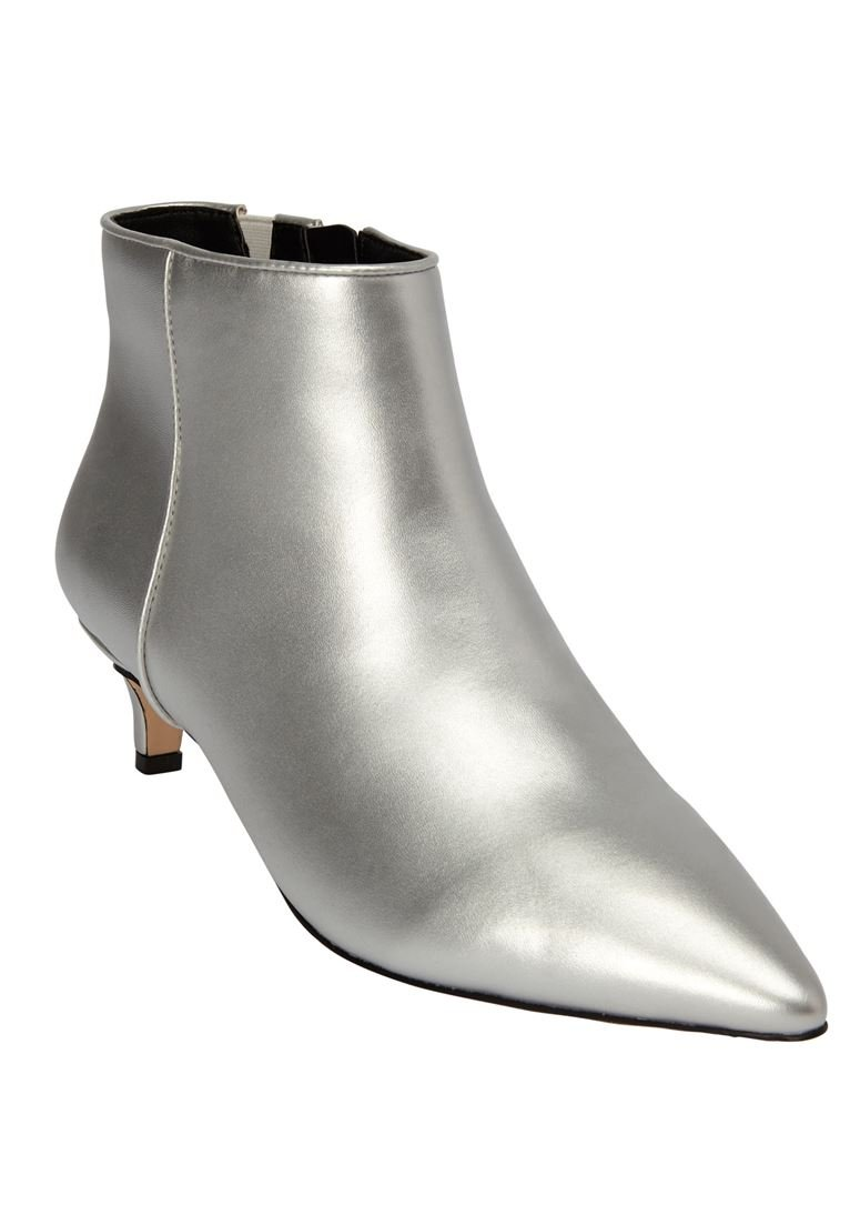 Comfortview Women's Wide The Meredith Bootie B07DRQQ844 10 1/2WW|Silver