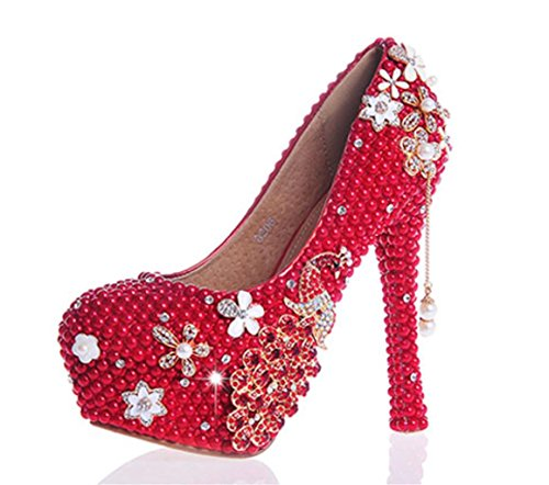 Bridesmaids Party 41 Bride Good Pearl 14cm Court Shoes MNII High Wedding Womens Rhinestones Evening Platforms Quality Crystal Heel red 1WqxpXz