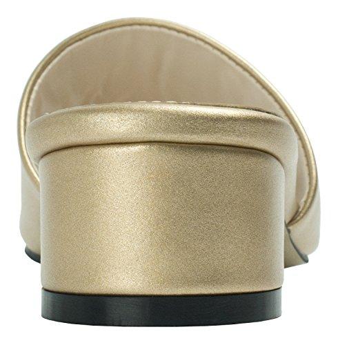 AnnaKastle Womens Colored Mule Slipper Heel Sandal Faux Leather - Gold gazMd