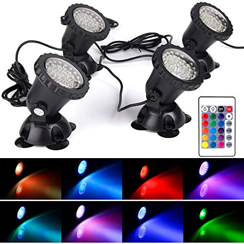 SHOYO Lawn Light Waterproof IP 68 Submersible Spotlight with 36-LED Bulbs 3.5W Color Changing Spot Light for Aquarium Garden Pond Pool Tank Fountain Waterfall (Set of 4)