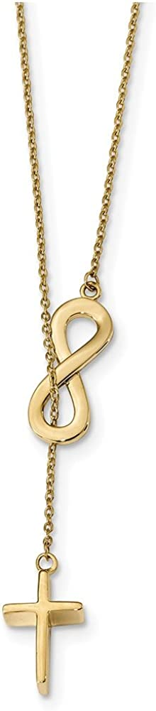 Lex /& Lu 14k Yellow Gold Polished Infinity /& Cross Lariat Necklace 18