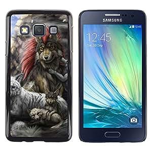 Samsung Galaxy A3 - Metal de aluminio y de plástico duro Caja del teléfono - Negro - Gray Wolf Family