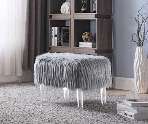 Contemporary Acrylic (Iconic Home FON2642-AN Fiorino Modern Contemporary Faux Fur Acrylic Leg Ottoman, Grey)