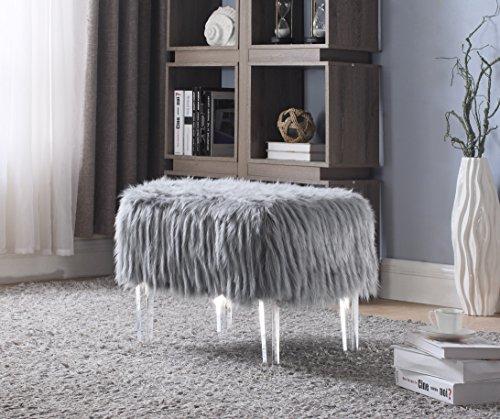 Iconic Home FON2642-AN Fiorino Contemporary Faux Fur Acrylic Modern Leg Ottoman, Grey