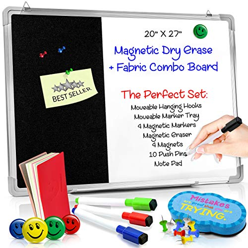 (Combination Dry Erase Magnetic Whiteboard & Black Felt Pin Bulletin Board. Vision/Memo Board for Office, Cubicle, School, Kids or Home- 20 x 27 Inches | Markers, Eraser, Magnets, Push Pins and Notepad)