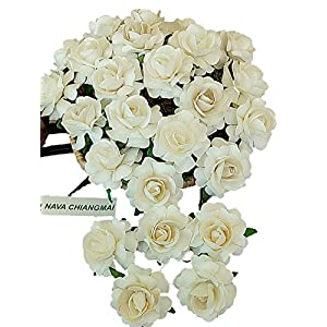 NAVA CHIANGMAI White Ivory Color Mulberry Paper Flower 40 mm Artificial Mulberry Paper Rose Flower, Floral DIY for Wedding Home Flower Decor, Wedding Flower Bouquet 111