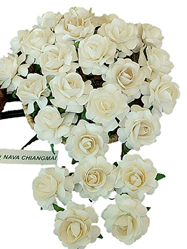 NAVA CHIANGMAI White Ivory Color Mulberry Paper Flower 40 mm Artificial Mulberry Paper Rose Flower, Floral DIY for Wedding Home Flower Decor, Wedding Flower Bouquet