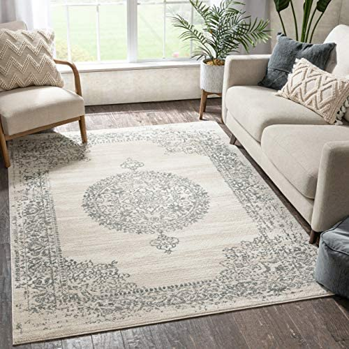 Reviewed: Well Woven Francesca Medallion Ivory Distressed Traditional Vintage Persian Floral Oriental Area Rug 9×13 9'3″ x 12'6″ Carpet