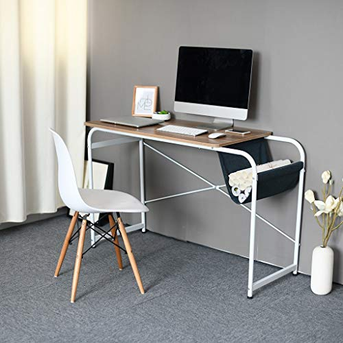 (CapsA Computer Desk Modern Simple Study Desk US Fast Shipment Industrial Style Folding Laptop Table for Home Office Brown Notebook Desk Laptop Study Table Office Desk with Cloth Bag Storage (Coffee))