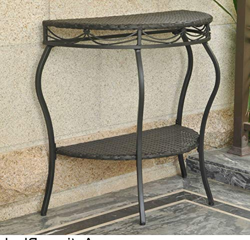 PH 30 Inch Antique Black Patio Side Table, Water Resistant Outdoor Side Table Half-Round Shaped Weather Resistant Patio Coffee Table Eco-Friendly Half-Moon Design Powder-Coated Steel Frame, Steel