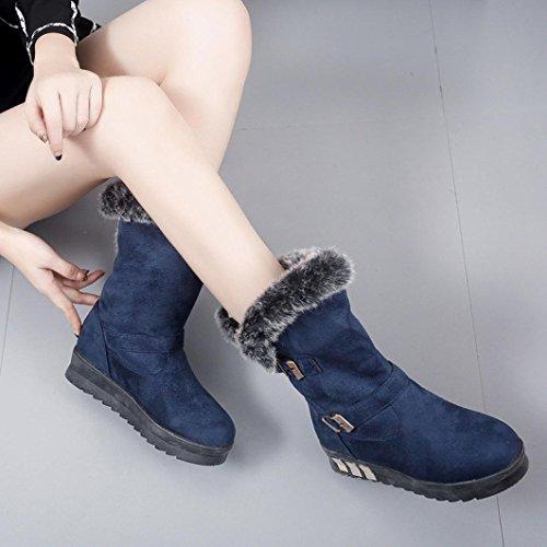 de Botas ESAILQ de ESAILQ Tobillo Nieve Azul Piel Por Invierno con Blanda Botas con por Nieve Punta Para de Mujer Redonda Zapatos Botas de HxF0aAw