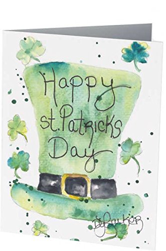 St. Patrick's Day Note Cards: 6 Blank Artistic Watercolor Notecards, with Envelopes - Irish Top Hat