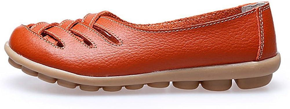 Popular Y Barato Clásico Mejor Elección Mocasines de Cuero Mujer Loafers Casual Zapatos de Conducción Cómodos Zapatillas del Barco Naranja delJix ETCCNw sm0m9x