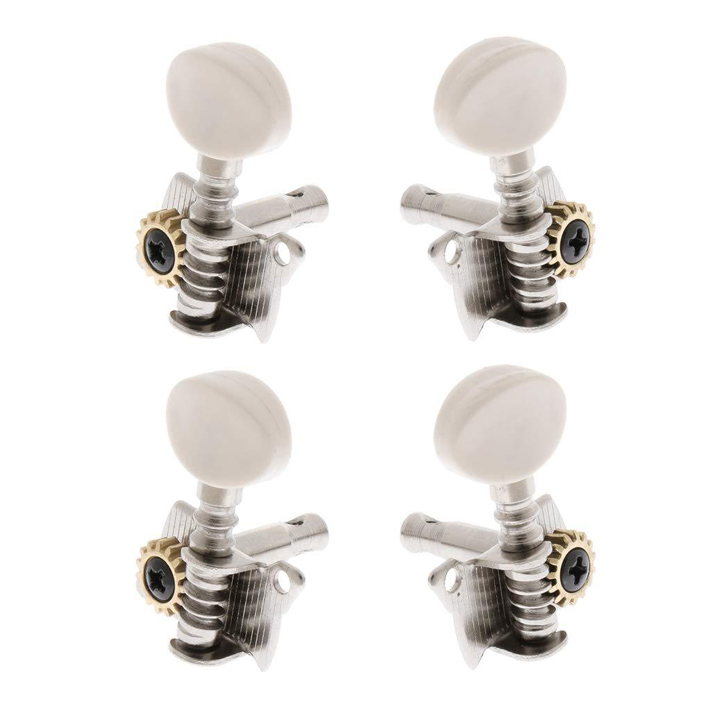 Flameer 4 Pieces Metal Ukulele Uke String Tuning Keys Open-gear 2L2R Musical Instrument Parts Silver