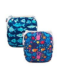 ALVABABY Swim Diapers Reuseable Washable Adjustable 0 to 36 mo.for Infants Toddlers 2 Pack One Size Swimming Lesson YK45-D46-CA