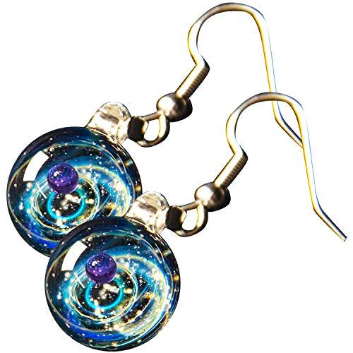 Lighting Pendant Apollo (Pavaruni Original Galaxy Earring, Universe Glass, Space Cosmos Design,Birthday Art Japan Handmade Craftsman (Apollo(Earring)))