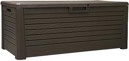 Oskar Kissenbox Kunststoff 550l Braun Wasserdicht Auflagenbox Gartenbox Gartentruhe Aufbewahrungsbox Amazon De Garten