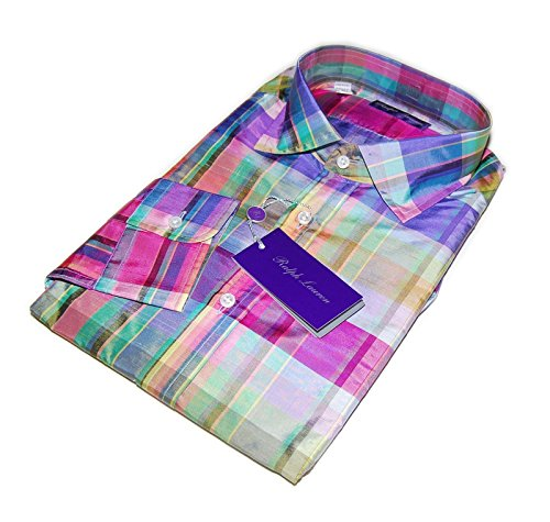 - Ralph Lauren Purple Label Men Silk Dress Shirt Italy Pink Blue Green Plaid Large