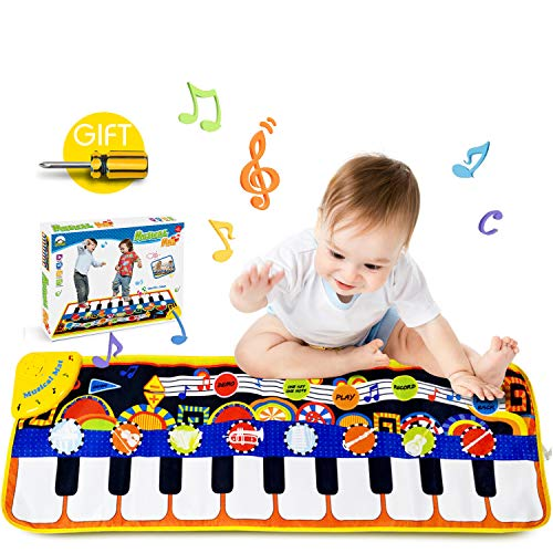 Papaw-M Musical Piano Mat, Polychrome Baby Early Education Music Toys, Safety Music Piano Keyboard Carpet, Soft Singing Carpet, Music Toys Gifts for Kids