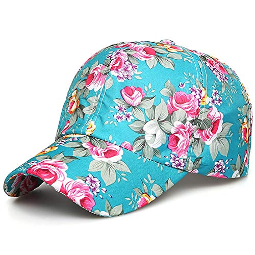 Women Fashion Adjustable Cotton Floral Printed Baseball Caps Summer Sun Snapback Hip-Hop Hat Sunbonnet 2019 Trendy,Green -