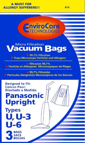 Package of 3 Replacement Panasonic U/U3/U6 Micron Filtration Bag