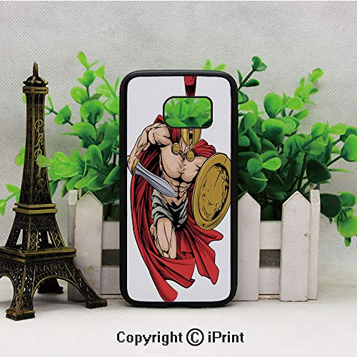 Spartan Warrior with Sword and Shield Ancient Legendary Greek World Graphic 2D Printing of Samsung S7 Case Black Soft TPU and PC Protection Anti-Slippery Case for Samsung S7 Peach Red Gold -