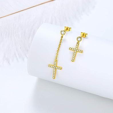 Kreuz Ohrringe aus echtem Silber 925 Minimalist Schmuck Cross Ohrstecker