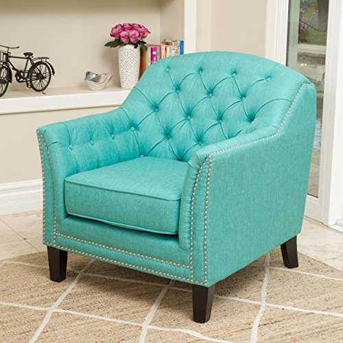 - Modern Transitional Button Tufted Upholstered Accent Club Chairs with Nailheads and Espresso Wood Legs - Includes Modhaus Living Pen (Teal)