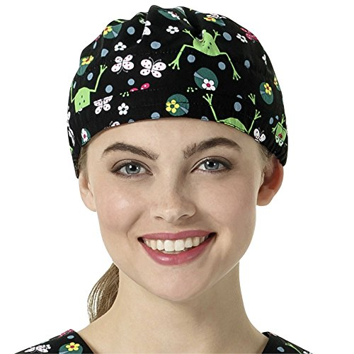 Zoe And Chloe Women's Adjustable Frog Print Scrub Hat Froggily