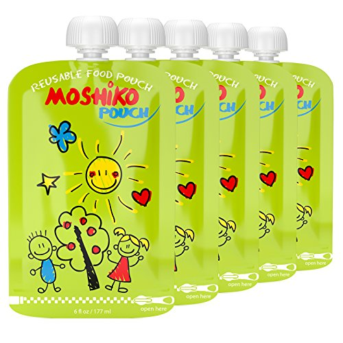 Reusable Food Pouch by Moshiko - Large 6oz. capacity  Perfec
