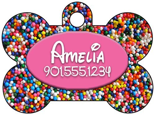 Disney Rainbow Sprinkles Dog Tag Pet Id Tag Personalized w/ Your Pet's Name & Number (Pink)