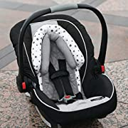 Travel Bug Baby 2-in-1 Head Support for Car Seats, White/Grey