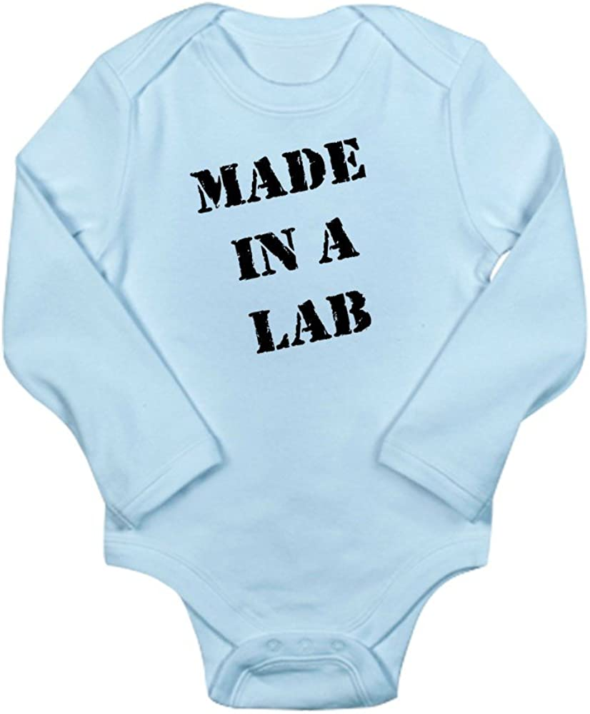CafePress Made in A Lab IVF Baby Body Suit Cute Long Sleeve Infant Bodysuit Baby Romper Sky Blue