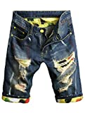 Lavnis Men's Moto Biker Jeans Shorts Ripped Distressed Denim Shorts with Broken HoleBlue-1-31