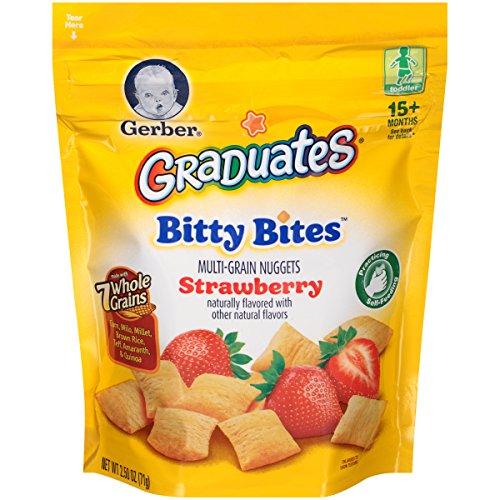 Gerber Graduates Bitty Bites, Strawberry, 2.50oz Pouches, 4 Count