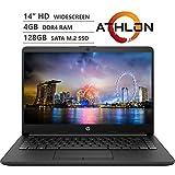 "HP 14 14"" HD SVA antirreflectante Micro-Edge con retroiluminación WLED para estudiantes, AMD Athlon 3050U 2,3 GHz hasta 3,2 GHz, 4 GB DDR4, 128 GB SSD, Wi-Fi 5, Bluetooth 4.2, HDMI, cámara web, Windows 10 S, paquete de accesorios"