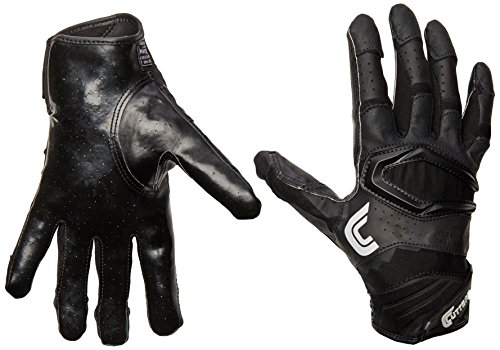 Cutters Gloves S451 Rev Pro 2.0 Receiver Football Gloves with Sticky C-Tack Grip, SOLID BLACK, Adult XL (Gloves Football Wide Receiver)