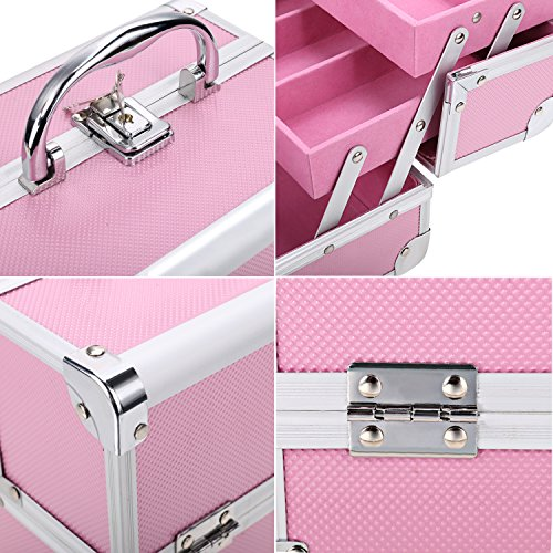 Bazal Small Makeup Train Case Travel Makeup Box for Girls Women Aluminum Cosmetic Box Jewelry Box with Mirror + 2 Keys, 7.8 x 6.05 x 6.05inch, Pink by Bazal (Image #4)
