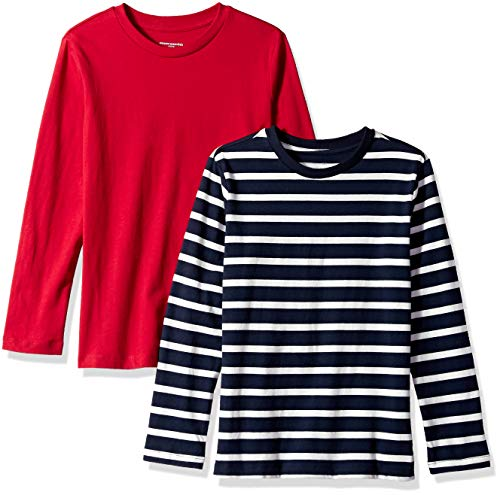 Amazon Essentials Big Boys' 2-Pack Long-Sleeve Tees, Simple Stripe Navy and Red, L(10)