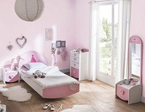 Kinderzimmer Lotte 4-tlg weiß / rosa Bett Kommode Nachtkommode Frisiertisch Kinderbett Nachtschrank Nako Mädchen Jugendzimmer Komplettset