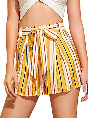 MAKEMECHIC Women's Casual Striped Elastic Waist Self Tie Shorts Multi L