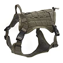 Pettom Tactical Service Dog Molle Vest Outdoor Adjustable Water Resistant Military K9 Training Harness with Handle (XL (Girth: 30-45in)), Green Vest