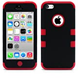 iPhone 5C Case, MagicMobile® Hybrid Impact Shockproof Cover Hard Armor Shell and Soft Silicone Skin Layer [ Black - Red ] with Free Screen Protector / Film and Pen Stylus