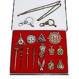 Harry Potter Necklace Set 15 pcs/Set Harry Potter Magic Wand Hogwarts House Badge Keychain Necklace in Box