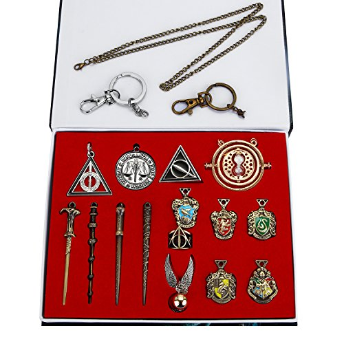 Harry Potter Necklace Set 15 pcs/Set Harry Potter Magic Wand Hogwarts House Badge Keychain Necklace in Box