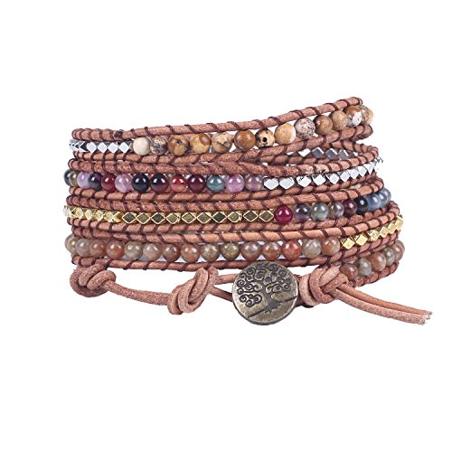 Bonnie Leather Wrap Bracelet Handwoven Jasper Bead Wrap Bracelet Tree of Life Button Healing