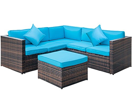 (Leisure Zone 4 PCS Outdoor Cushioned PE Rattan Wicker Sectional Sofa Set Garden Patio Furniture Set (Blue Cushion))